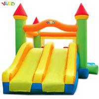 Jarda Double Slide Combo Bounce Casa Inflável Bouncy Bouncy Castelo Jumper com ventilador