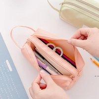 고용량 펜 가방 핸들 휴대용 이중층 편지지 저장 가방 (6 색) DHA4303