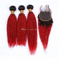 Bundles de cheveux brésiliens noirs et rouges avec fermeture Kinkys bouclés ombre rallonges de cheveux humains rouges coloré 1b rouge vierge cheveux tissés