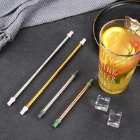 304 pailles en acier inoxydable Nettoyage télescopique et métallique réutilisable avec des embouts de silicone TIPS Pinceau à boire en acier portable