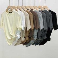 2021 summer new basic round neck Morandi elastic modal cotton short sleeve T-shirt for women n014