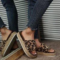 Sandals Flock Leopard Black White Women's Platform Shoes For Women 2021 Sandalias Sandles Woman Womens Slippers Summer