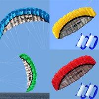 고품질 2.5m 블루 듀얼 라인 Parafoil Kite vlicyflying 도구 땋은 땋은 kitesurf 무지개 스포츠 비치 30 x2