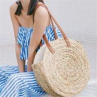 Evening Bags Fashion Round Straw Rattan Women Shoulder Casual Wicker Woven Handbags Moroccan Palm Basket Beach Bag Summer Big Tote