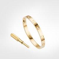 Aşk Vida Bilezik 4 Elmas Tasarımcı Klasik Altın Bilezik Lüks Takı Kadınlar Titanyum Çelik Altın Kaplama Asla Kaybolmaz Alerjik-Gold
