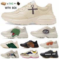 2021 rhyton vintage couro sneakers homens desenhador sapatos mulheres casuais senhoras clássico branco couro grosso sola vintage treinador pai sapatos # 598