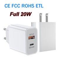 전체 20W 어댑터 USB-C 타입 C QC3.0 벽 충전기 전원 배달 PD CE FCC RoHS ETL로 iPhone 삼성을위한 빠른 충전