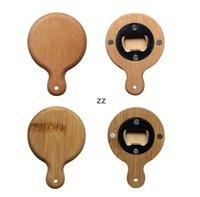 Kreatywne bambusowe drewniane otwieracz do butelek z uchwytem Coaster Fridge Magnes Decoration Piwo Button-Otwieracz HWF10733