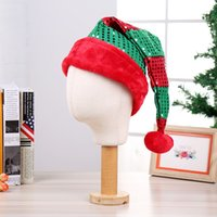 Sequins Stripe Red Green Fur Edge Hat Christmas Decorations Adult Beads Hats Dress Up Xmas Ornaments
