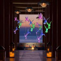 Farbwechsel Solarlampen Wind Klingel Outdoor Wasserdichte Kolibri-LED-Leuchten, Geschenke für Mutter Oma Geburtstag Weihnachten