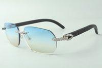 Direct sales medium diamond sunglasses 3524024 with black wooden temples designer glasses, size: 18-135 mm