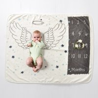 Kids Baby Born Months Milestone Blanket Flower Angel Wings Ruler Green Leaves Photo Take Background Flannel Blankets Child Children Cover Air Conditioning Room