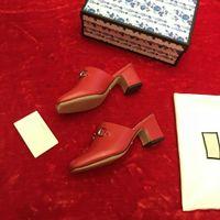 Lastest Echte Leder Chunky Ferse Hausschuhe Designer Wide Horsebit Raster Sommer Mode Sandalen Slipper Flip Flop Größe 35-41