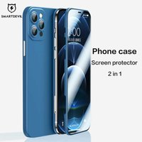 Cassa del telefono SmartDevil con protettore dello schermo per iPhone 12 Pro Max Liquid Silicone Cover per Apple 12 Mini Protector in vetro G0929