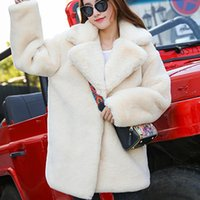 Women's Jackets Winter Women High Quality Faux Fur Coat Luxury Loose Lapel OverCoat Thick Warm Plus Size Female Plush Coats