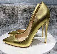 Zapatos de diseño de la marca de lujo Mujeres Red Bottoms Tacones altos 8 cm 10 cm 12 cm Tallas grandes Euro34 a 44 45 Puntas puntiagudas Bombas Boda Golden Matt Sheepskin Party Stiletto Tacón