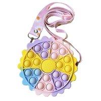 DHL Sun Flower Bag Fidgets Toys for Children Adults Party Favor Kids Fun Push Bubble Bags down Antistress toy Girls Boys Purse EE