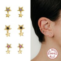 GS 925 Sterling Silver Double Star Stud Earrings For Women Girls Gift Purple Black Zircon Crystal Ear Stud Party Fine Jewelry
