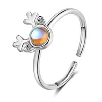 Cluster Rings Deer Antler Animal Adjustable 925 Sterling Silver Ring For Women Korean Fashion Designer Cute Party Moonstone Jewelry Gifts