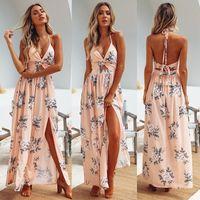 Womens Boho Maxi Long Evening Party Beach Chain es Sundress Floral Halter Dress Summer Hot Sale0Y15
