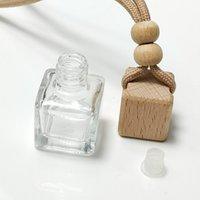 Auto Ornamente Ätherische Öle Diffusoren Duft Flaschen Parfüm Flasche Anhänger Platz Leerer Glas Buche Holzdeckel Hängen CCD7957