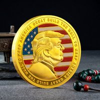 Arts and Crafts Donald J Trump Of US President Keep USA Great Build The Wall To American Gold Plated Souvenir Coin