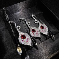 Earrings & Necklace Luxury Jewelry Set Geometry Calla Lily Pendant Exaggeration Long Tassel For Women Wedding Cocktail Party