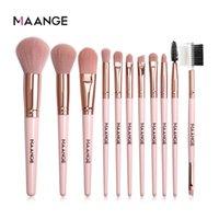 MAANGE 11pcs set Makeup Brushes Pro Pink Brush Set Powder EyeShadow Blending Eyeliner Eyelash Eyebrow Make up Beauty Cosmestic Brushes