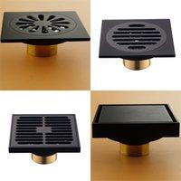 Modern Pure Black Black Doccia Doccia Doccia / Bagno Balcone Utilizzare materiale in ottone Materiale di drenaggio rapido Inserto quadrato Drecimenti 609 R2