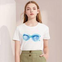 Summer Sunglasses Hat Slippers Print Women T Shirt Harajuku O Neck Fashion White Tops Female Clothing