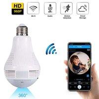 LED luz 960P sem fio panorâmico de segurança home wifi cctv fisheye lâmpada lâmpada IP câmera de IP 360 graus de segurança home monitor