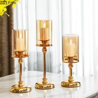 Candle Holders Metal Glass Holder Tall Feet Golden Tabletop Candlestick Modern Home Decoration Wedding Table