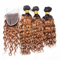 Dois Tom 27 Loira Water Onda Lace Fechamento com Bundles Virgin Malaysian Cabelo Humano Weave Pacotes De Profundamente Curly Ombre cabelo com fechamento