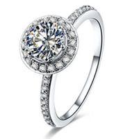 純正925スターリングシルバーリング1ct NSCDシミュレートダイヤモンドエンゲージリング用女性ブランドジュエリー結婚式ギフト