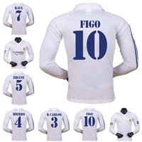 200102 Jersey de football rétro Real Madrid Home Longsleeve Zidane Figo Hierro Raul Morientes Version personnalisée Jerse classique