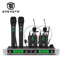 EPGVOTR 4 قنوات نظام ميكروفون لاسلكي UHF مع 2 bodypack lavalier و 2 ميكروفون يده للمرحلة حزب الكنيسة دي جي