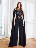Stylish Arabic Dubai Black Jumpsuit Evening Dresses For Women 2022 Cape Sleeve Lace Appliques Hollow Out Long Pant Suit Party Prom Gowns Formal Occasion Dress