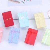 Caixas de presente de embalagem de jóias de papel para brincos de colar de pingente Caixa de anel retângulo embalagem organizador de embalagem recipiente de armazenamento 6 * 8 * 2,8cm