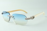 Direct sales micro-paved diamond sunglasses 3524024 with white buffalo horn temples designer glasses, size: 18-140 mm
