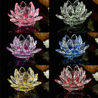 Portacandele di vetro di cristallo Lotus Portacandele Flower Candela Tea Tipo di luce da tè 30mm Tealight Buddhist Bar da sposa Party Candlestick