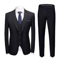 Men's Suits & Blazers Business Suit 3 Piece Set Slim Plus Size Solid Color Straight Pants Separates For Wedding
