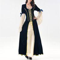 Lässige Kleider Vintage mittelalterliche lange Kleid Frauen Party Patchwork Kostüm Cosplay Sleeve Retro Bandage Maxi Vestido Ocasiional