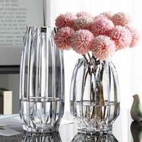 Nordic grande vetro trasparente impianto idroponico ricco di bambù rosa fiore vaso europeo stile soggiorno decorazione