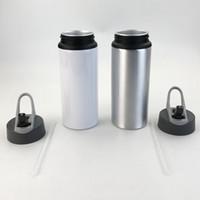 Botellas de aluminio de sublimación Botellas de agua 600 ml Caldera resistente al calor Deportes de la cubierta blanca Taza de la taza de la boca grande Boquilla de succión Envío de mar WWA173