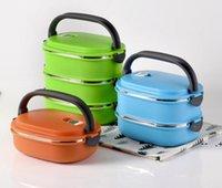 Boîte à lunch isolée en acier inoxydable en acier inoxydable carré isolé boîte à lunch cadeau de préservation bol double boîte à lunch gwb10124