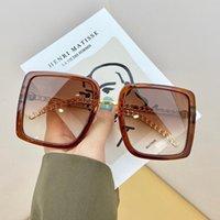 في الهواء الطلق النظارات المتضخم مربع نظارات المرأة العلامة التجارية مصمم العصرية خمر إطار سلسلة معدنية الرجال نظارات الشمس uv400