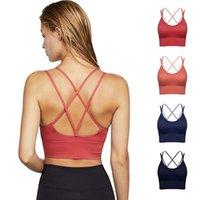 Mulheres ioga sutiã underwear camisoles tanques colete 2021 tintas de ombro fina cruz belas costas reunidas esportes à prova de choque aptidão