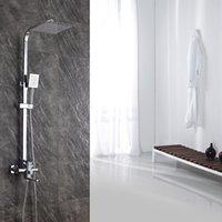 2021 nuovo sistema di pioggia quadrata fissata al rubinetto da parete in bronzo rubinetto da 8 pollici a mano a mano a mano per la doccia AHQ2 UWQF