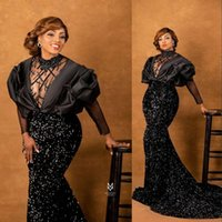 2021 Sexy Plus Size Mermaid Evening Dresses Arabic Aso Ebi Black Sequins Sparkly Beaded Sheer Neck Sequined Formal Prom Party Second Reception Gowns Long Sleeves