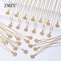 Zmzy 26pcs / lotes Lotes enteros a granel mezclado A-Z letra Cadena de acero inoxidable Collar CZ Crystal Gold Color Colgante